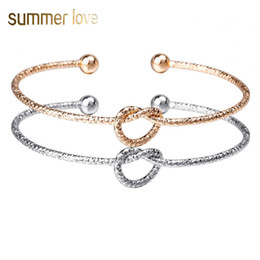 Wholesale New Designer Knot Cuff Bracelets Bangles For Women Men Charm Open Bangle Heart Fashion Jewelry Rose Gold Color Couple Bracelets