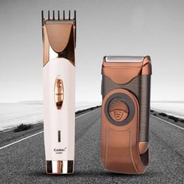 Ingrosso Kemei Professional Men Rasoio Trimmer Clipper Beard Trimmer Cutting Rasoio elettrico ricaricabile 3D Floating Head Shaving