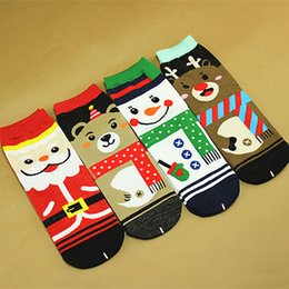 Funny Christmas Socks Canada - 2018 New Christmas Cartoon Emoji Santa Elk Happy Socks 4 Designs Moose Funny Winter Ankle Cotton Female Socks Happy Christmas