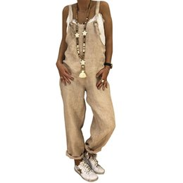 0c0340f12d73 2018 Woman Autumn And Winter Casual Loose Straight Large Size Linen Solid  Cotton One-Piece Bib Dungarees Rompers Jumpsuits Pants