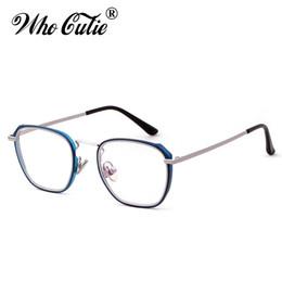 7a12cd4031 WHO CUTIE 2018 Square Blue Blocking Glasses Frame Men Women Fake Clear Lens  Optical Computer Retro Blue Light Eyeglasses OM466 fake lenses outlet