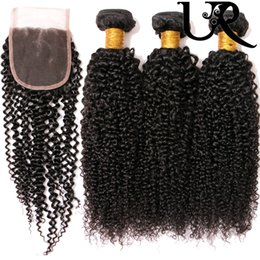 Wholesale Urvenus Kinky Curly Virgin Human Hair Weaves With x4 Lace Closure g Unprocessed Natural Colour Human Hair Extensions