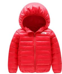 Jacket hat baby online shopping - face north Baby children s coat best selling new boy s cotton dress girl s pure color hat and light cotton padded jacket