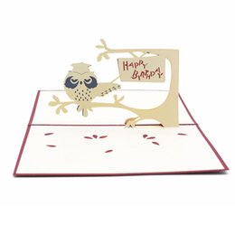 3D Stereoscopic Greeting Card Handmade Gift Decoupage Birthday Cake Postcard Owl Holiday