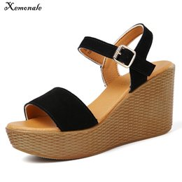 $enCountryForm.capitalKeyWord NZ - Xemonale Summer Women Sandals Shoes platform heel Stripe Leather Strap Wedge Slipper gladiator ladies sandals flip flops black