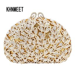 Discount golden crystal evening bags - Wholesale- Newest Flower Evening Crystal Bag Golden Stones rhinestone Clutch Evening Bag Female Party Purse Wedding Clut