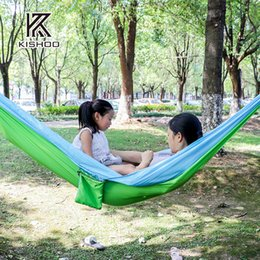 two person parachute hammock portable hot sale survival hammocks travel camping sleeping hammock swing canvas stripe 270 140cm two person camping hammock on     two person camping hammock suppliers   best two person camping      rh   dhgate