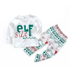 China ELF Size leter print Kids New Year Xmas Deer Flare t shirts & kids elk full print pants Girls Christmas 2pcs Set suppliers
