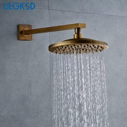 brass wall NZ - ULGKSD Free Shipping 8 Inch Shower Head W  Shower Arm Antique Brass Wall Mounted G1 2 Contect Faucet