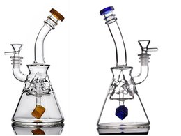 Chinese  Blue And Gold Mini Glass Water Pipes With square Perc recycler bong oil rigs Glass Water Bongs Smoking Hookahs With 14mm Joint manufacturers