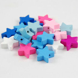 Wood Crafts For Kids UK - 100pcs Mixed Colors STAR Shape Wood Beads Craft Kids Jewelry Making for bracelet 20MM