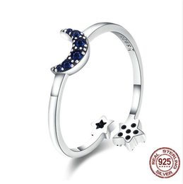 Real Engagement Rings China NZ - Real 925 Sterling Silver Sparkling Blue Moon Star Clear CZ Finger Rings for Women Wedding Engagement Jewelry