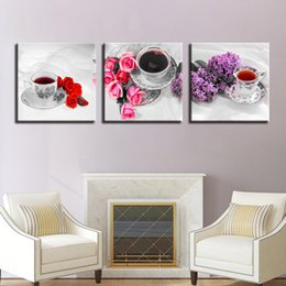 $enCountryForm.capitalKeyWord NZ - Canvas Painting Home Decor HD Prints Poster 3 Pieces Flower And Scented Tea Cup Pictures Kitchen & Restaurant Wall Art Framework