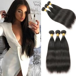 Discount long 12 inches straight weave - Brazilian Hair 3 Bundles Unprocessed Virgin Human Hair Long Straight Hair Extensions Natural Black Color Tangles Free 10