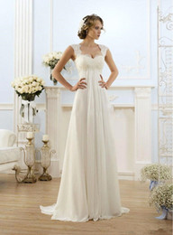 Discount greek modern wedding dresses - Greek New Cap Sleeve Hollow Lace Empire Wedding Dress Chiffon Appliques Princess Long Bridal Gowns Summer Beach Style Fa