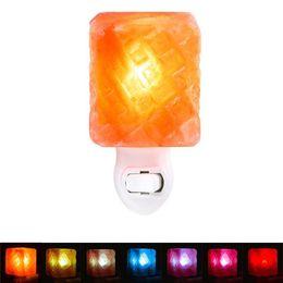 Plug wall lights uk online shopping - 5 Shape Colorful Changeable Mini Himalayan Salt Lam LED Night Light Wall Lamp Bedside Bedroom Home Decor Novelty Lighting US EU UK AU Plug