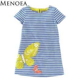 $enCountryForm.capitalKeyWord Canada - Menoea Girls Dresses 2017 New Summer Style Children Blue Color Striped Clothes Dress Kids Butterfly Pattern Casual Short Dresses