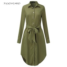 long sleeve belted blouse NZ - Autumn Belted Blouse Shirt Dress Women Solid Color Midi Female Dresses Long Sleeve Oversized Casual Clothes Tunic Plus Size 5XL Y1890703