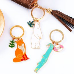 cute cartoon charms Australia - 2018 Korean Cute Animals Plants Key Ring Polar Bear Fox Cat Metal Keychain Cartoon Pendant Bag Charm Gifts Support FBA Drop Shipping G783R