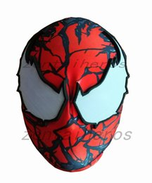 $enCountryForm.capitalKeyWord Australia - Halloween Venom Spiderman mask Cosplay Costume 3D print Lycra Spandex Mask Red   Red Adult sizes Party supplies