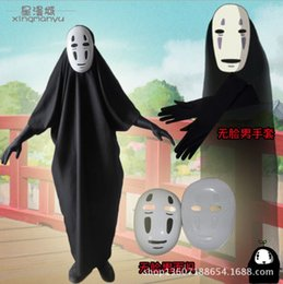 spirits costumes NZ - Anime Movie Spirited Away No Face Man Cosplay Costume Full Set Halloween Costume Robe + Gloves + Mask