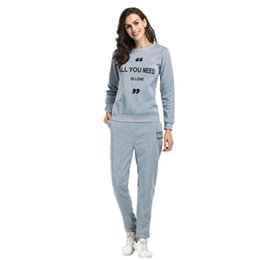 Pink Clothing Women UK - Letter print Autumn Winter Tracksuit Long Sleeve Stitching Sweatshirts Casual Suit Women Clothing 2 Piece Set Tops+Pants Sporting Suit Femal