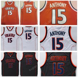 College 15 Camerlo Anthony Jersey Men Syracuse Orange Basketball Jerseys  Anthony For Sport Fans Embroidery Black White Free Shipping 59bfef42a