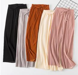 18d23d70a3 2018 Primavera Verano Nueva cintura alta plisado gasa pantalones de pierna  ancha ElasticCasual pantalones sueltos delgados hasta el tobillo pantalones  ...