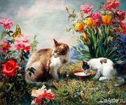 Garden Oil Paint NZ - 16x20 inches Cats Playing in Flowers Garden DIY Paint On Canvas drawing By Numbers Kits Art Acrylic Oil Painting Frame
