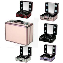 $enCountryForm.capitalKeyWord Australia - Aluminum Lighted Makeup Box Portable Beauty Case with 4 Bulbs LED Lights