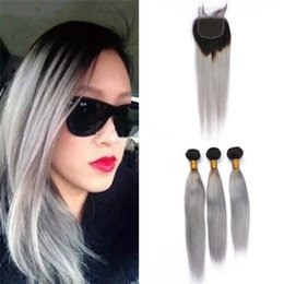 Dyeing Hair Black Australia - Ombre Brazilian Grey Virgin Hair Bundles with Lace Closure Black to Gray Ombre Straight Human Hair Weaves with Free Part Closure
