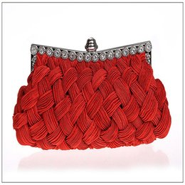 Knit Fabric Prints Canada - OUCEICE NEW Knitted handmade women wedding bridal red handbags clutch evening bags shoulder diamonds small purse holder bags