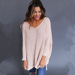 94722af6448 Sweater Over NZ - 2018 Autumn Women Long Sleeve Loose Knitted Sweater  Knitwear Casual V-