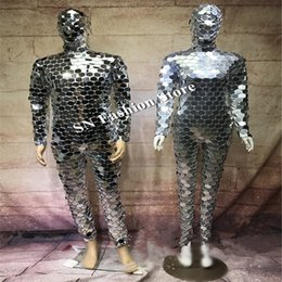 mirrored clothing 2019 - DC77 Ballroom dance men robot mirror suit women stage show costumes singer silver clothes models performance catwalk wea