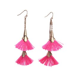 $enCountryForm.capitalKeyWord Australia - 5pcs lot Bohemian national style pink tassel long earrings vintage earrings fish ear 2018 new summer style for women lady wholesale