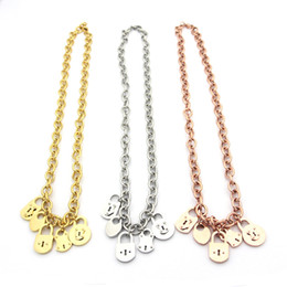 $enCountryForm.capitalKeyWord NZ - Stainless steel jewelry T letter multi pendant fine necklace chain 5 locks ladies thick necklace 18K gold necklace chain length 49.5cm