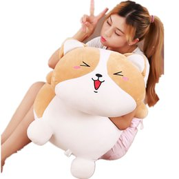Stuffed Animals For Dogs Canada - Dorimytrader Cuddly Soft Anime Lying Shiba Inu Plush Toy Pillow Big Cute Stuffed Animal Dog Anime Doll for Boy and Girl 80cm DY61942
