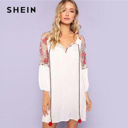 d2fa223c110bbd SHEIN White Women Pom Pom Tie Neck Embroidered Mesh Raglan Sleeve Dress  Shift Straight Clothes Summer Tunic Rayon Dress