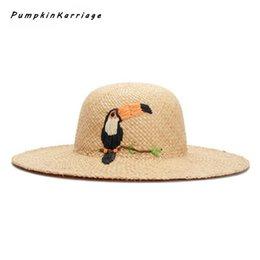 b573b9bc 2018 Women Straw Hats Panama Sun Visor Hat New Handmade Raffia Cartoon  Woodpeck Embroidery Wide Large Brim Beach Hat Fashion Cap