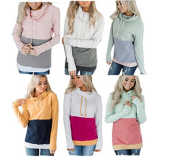 wholesale contrast hoodies NZ - Women Patchwork Sweatshirt Hoodies Turtleneck Collar Stitching Pullover Sweaters Long Sleeve Contrast Color Autumn Winter Coat Jackets Tops