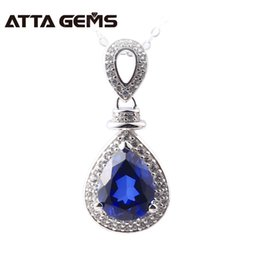 Discount blue sapphire pendants - Blue Sapphire Sterling Silver Pendants 2.8 s Created Sapphire S925 Pendants For Women Birthday Gifts Engagement
