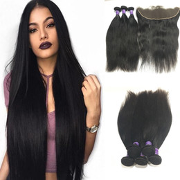 Brazilian Human Hair Wholesale Prices Australia - Brazilian straight Virgin Human Hair 3 Bundles With 13 x 4 Lace Frontal Straight Human Hair Extensions Natural Color Wholesale price