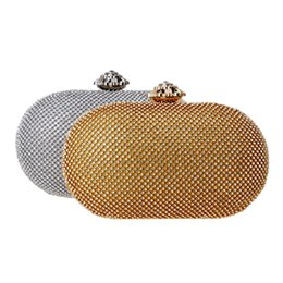 gold metal clutch bag UK - Full Of Rhinestones Women Evening Bags Gold Black Silver Flower Metal Luxurious Crystal Clutches Party Wedding Bridal Purse