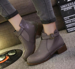 Buckle Studded Boots NZ - Black Studded Leather Ankle Boots Buckles Low Heeled High Women Boots Zapatos Mujer Ladies Shoes Size 40