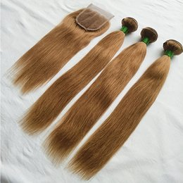 honey blonde lace closure NZ - Color 30# Peruvian Straight Hair 3 Bundles With Closure New Arrival Peruvian Honey Blonde Remy Human Hair Weave Bundles With Lace Closure