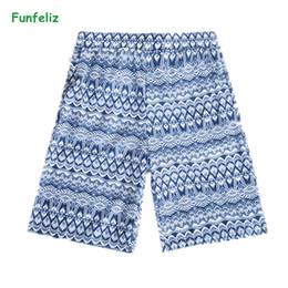 Discount man swimwear striped - Funfeliz Men Swimsuit Fast Dry Nylon Swimming Trunks for Men Print Striped Boys Swimwear M-2XL Male Swimming Shorts