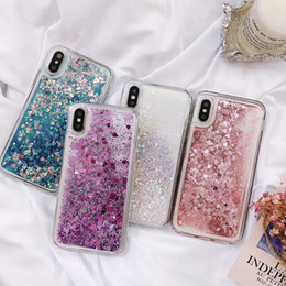 clear iphone skins Canada - Luxury Heart Love Liquid Soft TPU Case for iphone X 8 7 Plus 6 6S SE Galaxy S9 S8 Quicksand Star Floating Glitter Sparkle Powder Cover Skin
