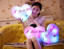 $enCountryForm.capitalKeyWord NZ - Colorful LED Flash Light Heart Shaped Pillow Plush Stuffed Toys Size 36*30 cm Star Gift For Valentine's Day Gift Stuffed & Plush toy