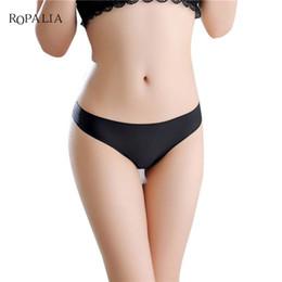 Discount invisible thong bikini - 2017 Invisible Seamless Underwear Women Panties Thongs Nylon Spandex Crotch Thong Tanga Panty Ropa Interior Mujer Calcin