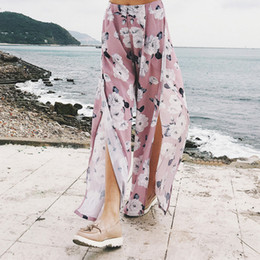 463f47d07f9f 2018 New Fashion Floral Print Pink Wide Leg Trousers Women Loose Boho Beach Summer  High Elastic Waist Split Long Pants S-2XL